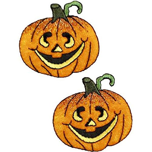 Expo International Halloween Jack-O-Lantern Iron-on Applique Trim Embellishment, Multi-Color, 2-Pack -