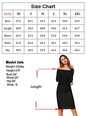 Romwe Women's Off Shoulder Long Sleeve Bodycon Cocktail Party Pencil Dress