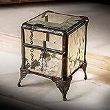 J Devlin Box 649-2 Antique Yellow Stained Glass Jewelry Keepsake Box Vintage Decorative Trinket Box