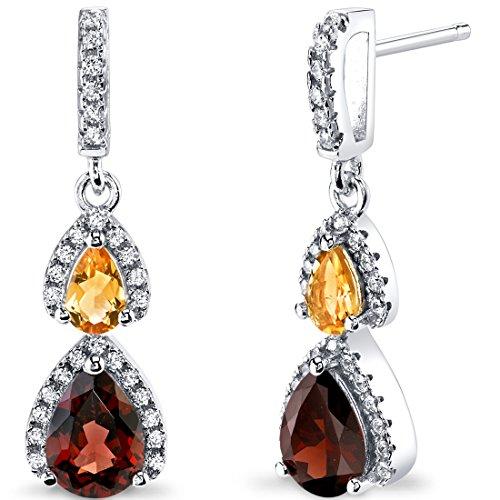 Garnet Citrine Earrings - Garnet and Citrine Open Halo Earrings Sterling Silver 2 Stone 2.50 Carats Total