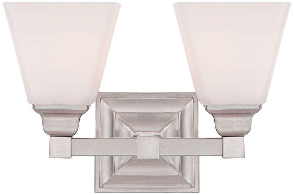 Mencino 12 3/4'' Wide Satin Nickel and Opal Glass Bath Light