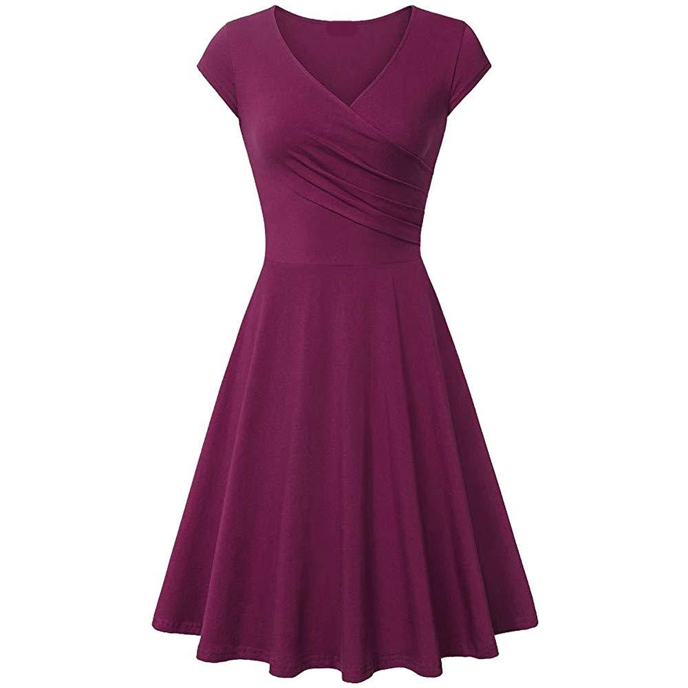 Ulanda Womens Elegant Dresses Cross Wrap V Neck Cap Sleeve A Line Dress Simple Chic Evening Party Dress Red