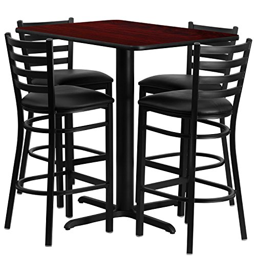 - Flash Furniture 24''W x 42''L Rectangular Mahogany Laminate Table Set with 4 Ladder Back Metal Barstools - Black Vinyl Seat