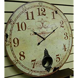 Large 23 Wall Clock with Pendulum ~ Antique French Provincial Style