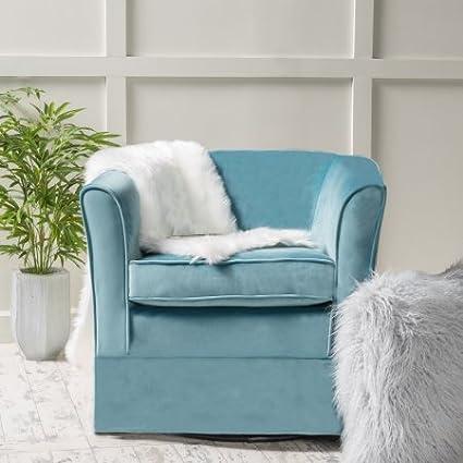 Stupendous Amazon Com Noble House Hailey Blue Velvet Slipcover Swivel Machost Co Dining Chair Design Ideas Machostcouk