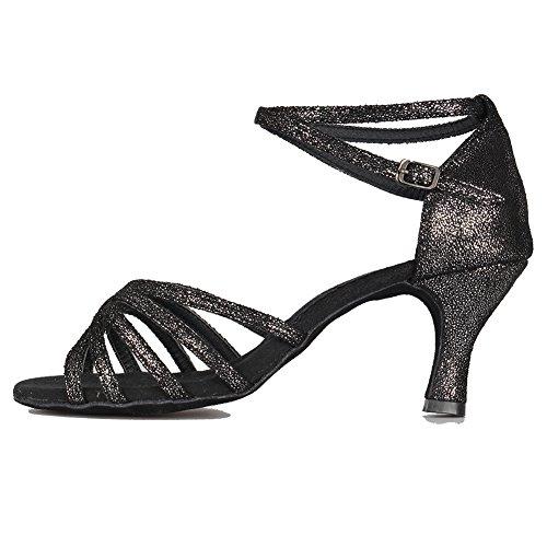 Femmes Noir De Swdzm Souliers 7cm 1810 talon Modle Pour Danse Satin Latine Ballroom Brillant 5447wXrqx