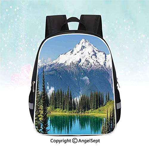 (Travel Backpack,Lake and Snowy Glacier Peak in Washington USA Tall Pine Tree Forest,13