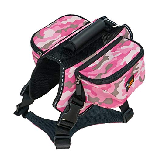 (Phyxin Dog Backpack for Hiking Dog Saddle Bag with Reflective Strip Adjustable Dog Pack Harness with 2 Zipper Pockets Pet Backpack for Small Medium Large Dogs Pink L)