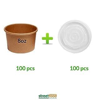 226,8gram marrone da asporto Paper zuppa contenitore con coperchio ventilato in plastica usa e getta–resistente e biodegradabile ed ecologico, tazze da zuppa con coperchio Microondabili, 100 Streetfood Packaging