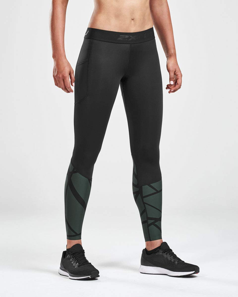 2XU Women's Accel Compression Tights with Storage, Black/Mountain View, XS-R