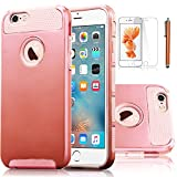 iPhone 6S Plus Case, EC™ Extra 2in1 Slim Case, Hybrid Dual Layer Shockproof Tough Plastic Silicone Hard Protective Case Cover for Apple iPhone 6/6S Plus (A Rose Gold)