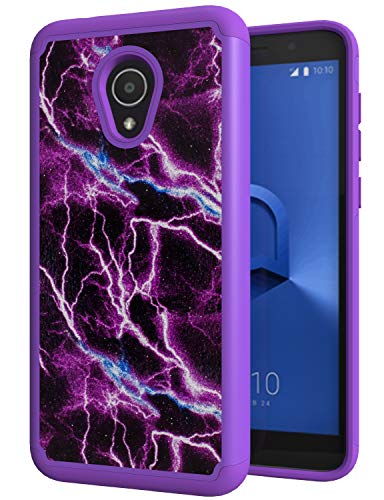 ANLI Alcatel TCL LX Case, Alcatel Avalon V Case, 1X Evolve Case, IdealXtra Case, Drop Protection Hybrid Dual Layer Armor Protective Case Cover for Girls and Women Purple