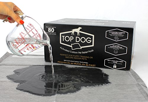 Top Dog 80 Pack Deluxe Puppy Pads and Dog Training Pad with Extra Quick-Dry Black Carbon Technology - Perfect for Puppy Housebreaking and as Potty Pads for Your Mature Pet (Large, 80pc, Black) (Plastic Pad Training)