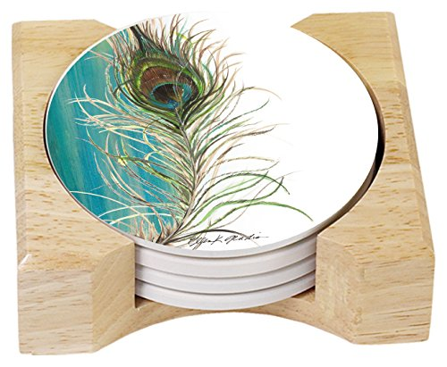 Peacock Coasters (CounterArt Absorbent Coasters in Wooden Holder, Elegant Peacock, Set of 4)