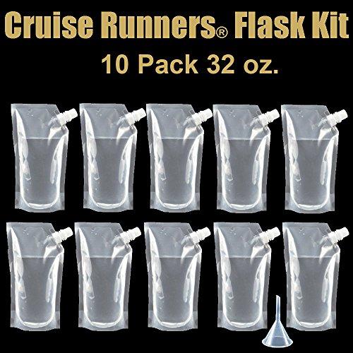 CRUISE RUNNERS® Brand Ship Kit Flask 10 32oz Sneak Alcohol Runner Rum Liquor Smuggle Booze Runners 10 x - Plastic Rum