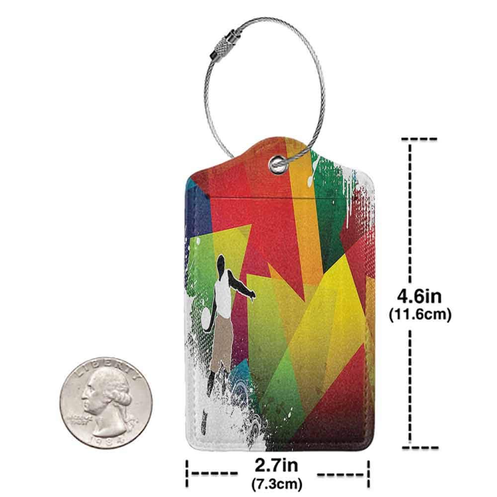 Soft luggage tag Basketball Basketball Jump Background with Geometrical Shapes Paint Splashes Modern Art Bendable Multicolor W2.7 x L4.6
