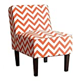 Abbyson Living Fiona Chevron Print Fabric Accent Chair in Orange Review