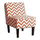 Abbyson Living Fiona Chevron Print Fabric Accent Chair in Orange Review