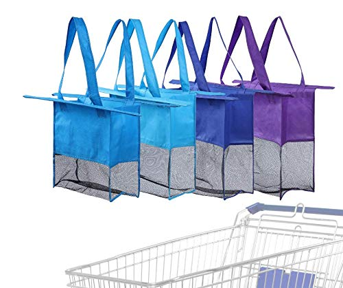 Reusable Shopping Cart Bags and Grocery Organizer Designed for Trolley Carts by Modern Day Living ... (Green) (Purple Blue Blue Blue)