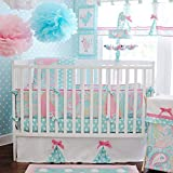 3Piece Crib Bedding Set, Cute Adorable, Baby Pink White Color, Aqua Blue, Outstanding Paisley Comforter, Polka Dots Scattered Sheet