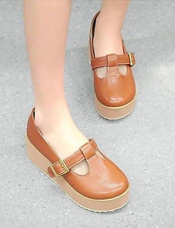 ZQ Zapatos de mujer-Tac¨®n Cu?a-Tacones-Tacones-Oficina y Trabajo / Vestido / Casual-Microfibra-Negro / Amarillo / Beige , beige-us3.5 / eu33 / uk1.5 / cn32 , beige-us3.5 / eu33 / uk1.5 / cn32