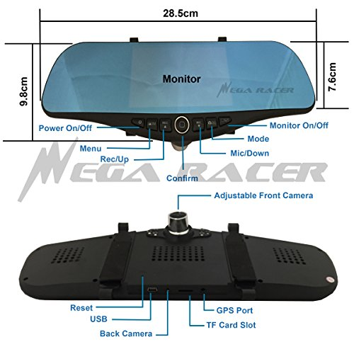 Universal 5'' Monitor 1080P Full HD Blue Tint Car Front/Backup Rear Camera Video Recorder Rearview DVR Cam Inside Mirror by Mega Racer (Image #2)