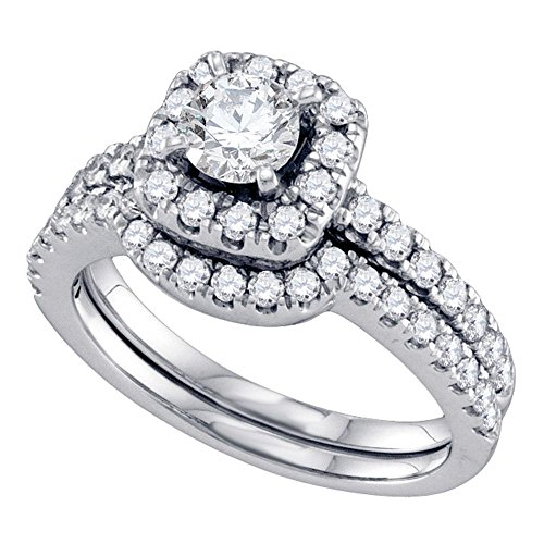 Size 7 - 14K White Gold Large Diamond Halo Ladies Bridal Engagement Ring with Matching Curved Notched Wedding Band Two 2 Ring Set - Solitaire Setting w/ Channel Set Round ()