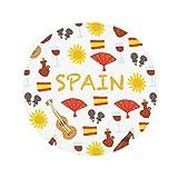 Spain Flamenco Music Food Anti-slip Floor Pet Mat Round Bathroom Living Room Kitchen Door 60/50cm Gift