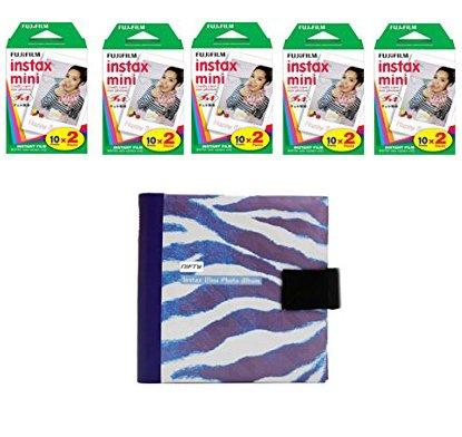 Fujifilm Instax Mini Camera Essentials Kit: Blue Photo Album and Film (100 images) by MPC