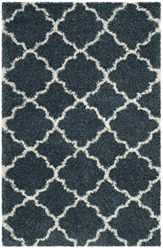 Lightweight Slate - Safavieh Hudson Shag Collection  Slate Blue and Ivory Moroccan Geometric Quatrefoil Area Rug (8' x 10')
