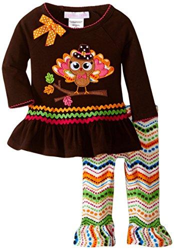 Bonnie Baby Baby-Girls Pilgrim Turkey Appliqued Legging Set, Brown, 3-6 Months (Piece 5 Pilgrim)