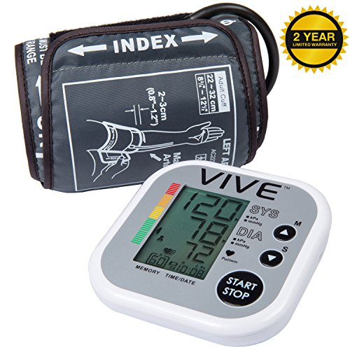 Blood-Pressure-Monitor-by-Vive-Precision-Automatic-Digital-Upper-Arm-Cuff-Accurate-Portable-Perfect-for-Home-Use-Electronic-Meter-Measures-Pulse-Rate-One-Size-Fits-Most-Cuff