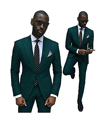 Botong Green Slim Fit Wedding Suits for Men 2 Pieces Groom Tuxedos Business Men Suits 42 chest / 36 waist