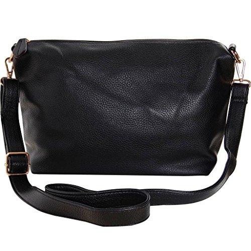 Humble Chic Crossbody Bag - Vegan Leather Satchel Messenger Hobo Handbag Shoulder Purse, Black - 14 inch by Humble Chic NY