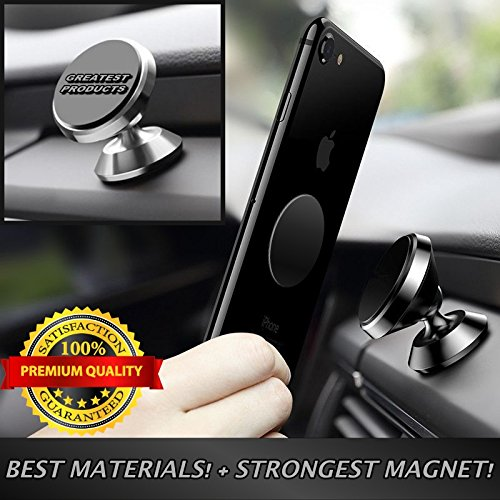 GREATEST Magnetic Phone Car Mount – Phone Holder For Car iPhone 7 8 Car Mount – Cell Phone Holder – Samsung Galaxy S7 S8, LG, Dash Phone Mount – Universal Magnetic Phone Mount – SILVER