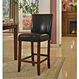 Casual 29-inch Luxury Black Faux Leather Barstool Comes in Brown Finish Offers a Natural and Elegant Look to Your Home