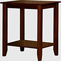 Tall End Table Stand For Living Room Brown Square Side Rable Wood Rustic Furniture With Storage Shelf & eBook by Easy&FunDeals