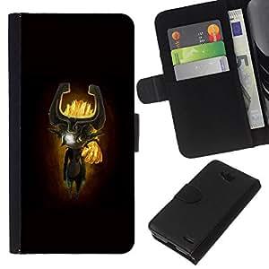 LECELL--Cuero de la tarjeta la carpeta del tirón Smartphone Slots Protección Holder For LG OPTIMUS L90 -- Totem máscara de dibujos animados --