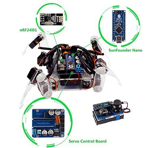 image SunFounder Crawling Quadruped Robot DIY Kit for Arduino with Nano Board Remote Control