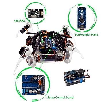 Sunfounder crawling quadruped robot diy kit for arduino with nano sunfounder crawling quadruped robot diy kit for arduino with nano board remote control solutioingenieria Images