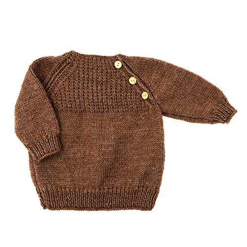 Magic Needles Handmade Knit Baby Infant Newborn Winter Woolen Full Sleeves Sweater Pullover Cardigan (Dark Brown 1223, 3-6 Mths)