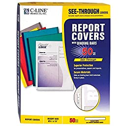 C-Line Report Covers with Binding Bars, Clear Vinyl, White Bars, 8.5 x 11 Inches, 50 per Box (32557)