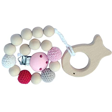 Topker Baby Natural chupete de madera Clips Holder Chain ...