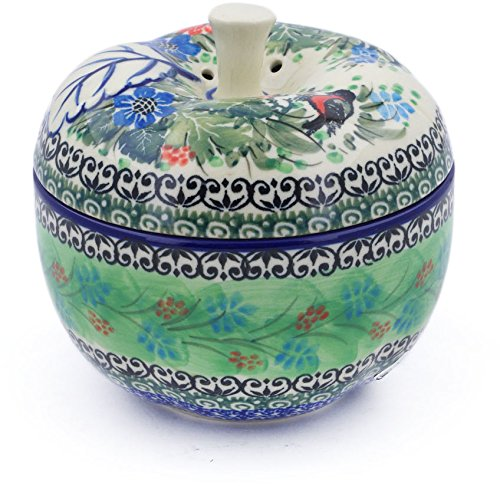 Polish Pottery 4¾-inch Apple Shaped Jar made by Ceramika Artystyczna (Red Breasted Robin Theme) Signature UNIKAT + Certificate of Authenticity (Red Breasted Robin)
