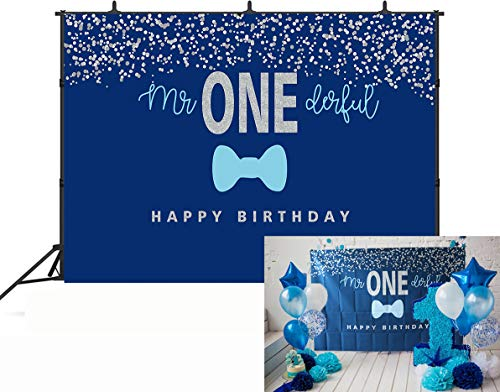 GYA 7x5FT Boys 1st Birthday Mr. Onederful Backdrop Blue Bow Tie Theme Blue and Silver Boy Toddler Little Man First Birthday Photoshoot Banner th94-7x5FT