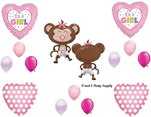 It's a Girl Monkey Polka Dots Diaper Baby Shower Balloons Decorations Pink Pacifier by Anagram -