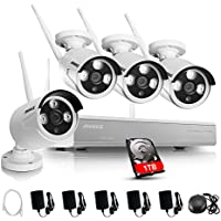 ANNKE 4CH 960P HD Wireless Security WIFI NVR Kits with 1TB HDD and (4) 1.3MP Indoor/Outdoor Bullet IP Cameras Surveillance Systems,Support Motion Detection Alarm & Remote View