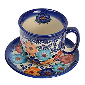 Traditional Polish Pottery, Handcrafted Ceramic Coffee Cup and Saucer 275ml, Boleslawiec Style Pattern, F.201.Meadow