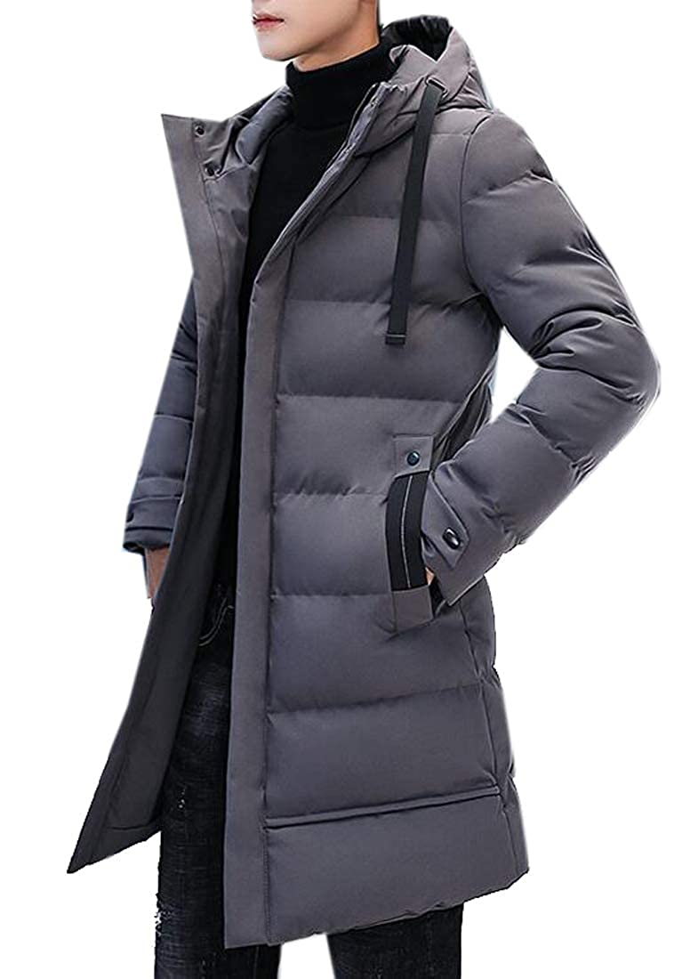 Bravepe Mens Plus Size Thermal Loose Fit Mid Length Hooded Down Quilted Puffer Jacket Coat Outerwear