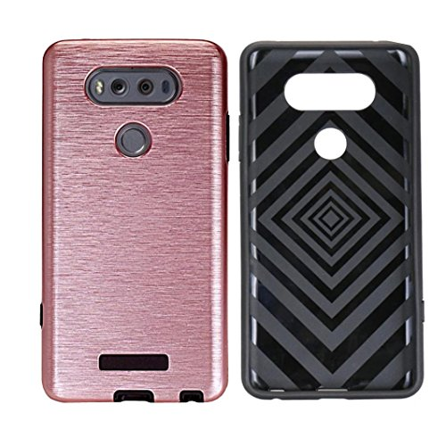 For LG LV20 Protective Case, Oksale Slim Brushed Texture Hybrid Armor Protective Phone Cover For LG V20 (Rose Gold)